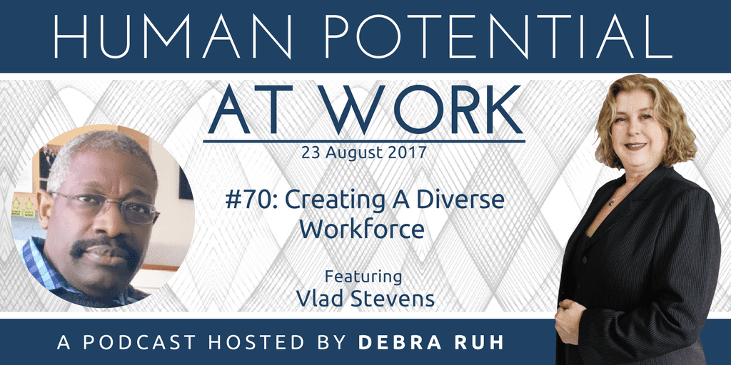 Human Potential at Work Podcast Show Flyer for Episode 70: Creating a Diverse Workforce