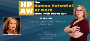Episode Flyer for #125 Cyberpsychology and Digital Mental Health- With Therapist Nicole Amesbury