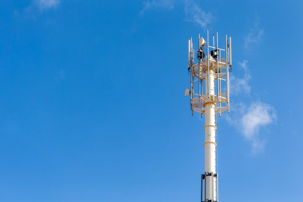 Telecommunication and cell tower, 4G and 5G radio network telecommunication equipment