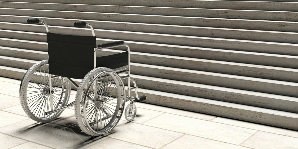 Wheelchair empty infront of concrete stairs. 3d illustration